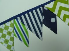 Boys birthday party Bunting/Banner. in Navy, Lime Green and White Stripes and Spotted fabric ....Very Vibrant $35