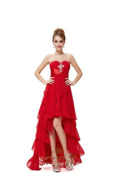 Red High Low Dresses For Teenagers,Red Prom Dresses 2015 High Low,Red High Low Sweet 16 Dresses