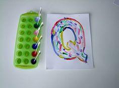 Alphabet Letter Q is for Q-Tip Painting Craft! Alphabet Letter-- using ice cube trays for holding paint super idea!