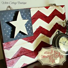 DIY- Chevron Flag Perfect for Memorial Day and July 4th ! .