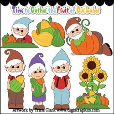 Autumn Gnomes 1 Clip Art - Original Artwork by Trina Clark