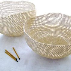 bowls, crochet stiffened over a mold - moonbasket