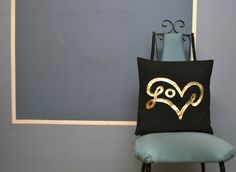 Gold and Black Love Pillow Cover, metallic home decor, bexcaliber