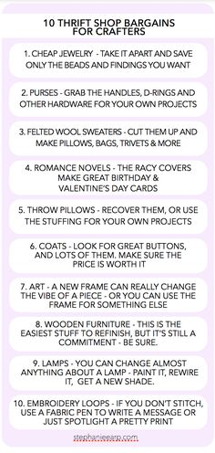 10 thrift shop finds for crafters - DIY beading, sewing, cards, furniture, pillows and more.