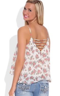 Deb Shops Vintage Floral Print Flowy Tank Top with Cage Back $14.25