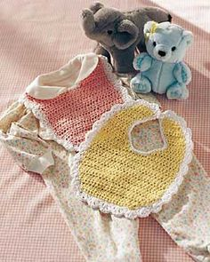 This sweetest baby bib is sure to be mom's favorite. Gentle colors and pretty lacy trim. Crochet in Lily Sugar 'n Cream on size 4.50 mm (U.S. 7) crochet hook.