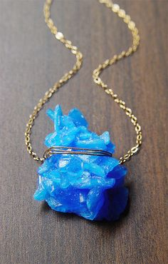 Blue Chalcanthite Necklace  Gold  Mineral Stone