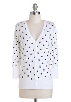 Charter School Cardigan in Dots - White, Black, Polka Dots, Buttons, Casual, Variation, V Neck, Work, Rockabilly, Vintage Inspired, Scholast...