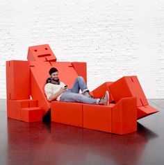 David Weeks, the award-wining American-based designer; Quinze & Milan, the innovative Belgian design company and Areaware, the New York City based producer of unusual design objects, have joined forces for MOST. Their bigger-than-life, lounging Cubebot sculpture will put a smile on your face and provide a comfy spot to take a break from the Salone madness.