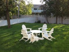 """We love our new Adirondack Furniture! Looks great and inviting and is EASY care! Makes me feel like I'm on vacation in the Cape when I look at it.... :-))""   -B.R. of Westport, CT"