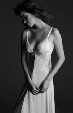 """Glamour """"toujours"""" glamour is this seductress inspired Jean Harlow long gown with its daring lace insets leaving a path of emotion behind you! #lingerie #nightwear #bridal #silk"""