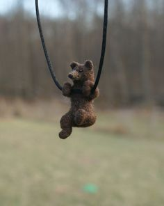 Tiny Brown Bear necklace  needle felted by motleymutton on Etsy, $40.00
