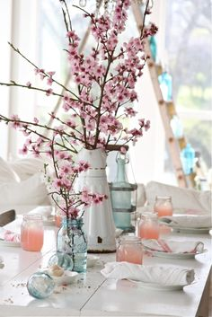 blue mason jars, cherry blossom centerpiece, mason jar table centerpieces, dreamy whites, blue jar, cherri blossom, wedding table centerpieces, tabl centerpiec, cherry blossoms