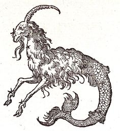 capricorn woodblock print from devises heroïques - claude paradin chanoine de beaujeu 1557