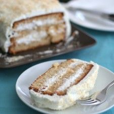 GF Sliced Coconut Layer Cake made with Kelapo Coconut Oil