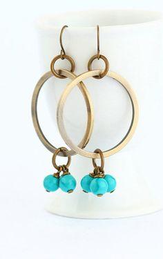 Dangle Earrings Hoop Earrings Brass Turquoise