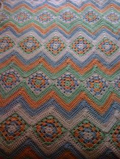 Granny Stripes Baby Blanket by dianawp, via Flickr