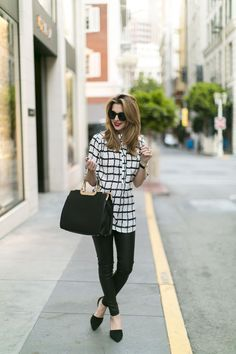 Black faux leather pants and Windsor Store top and bag