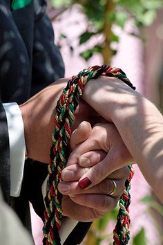 """Handfasting is an old Celtic ceremony of betrothal or wedding where the hands of the bride and groom are tied with a cord or ribbon. It's where the phrase """"Tying the knot"""" came from."""
