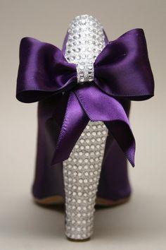 Purple Wedding Wedges with Purple Bow and Swarovski Rhinestone Heel