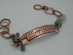 """""""Why fit in when you're born to stand out"""" - Inspirational mixed metal sterling silver and copper, artisan beaded bracelet by JoDeneMoneuseJewelry"""
