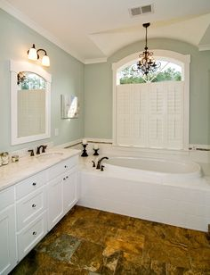 Master bath from the Silvergate Plan 1254-D http://www.dongardner.com/plan_details.aspx?pid=4067 - The master bedroom features twin walk-in closets and a bay window that easily accommodates a sitting area. #Bathroom #MasterBedroom #HomePlan