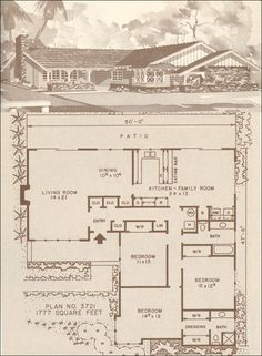 The kitchen living dining & family rooms all have doors to the patio!.... I like it!    c. 1960 Hiawatha Estes Plans - No. 3721