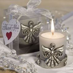 Frosted Candle Holder with antiqued silver angel base - a perfectly angelic wedding favor. It comes boxed with a pretty ribbon bow. http://www.favorfavor.com/page/FF/PROD/3973