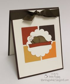 [Thanksgiving Card :: Confessions of a Stamping Addict]        Like how she used the 4 color background