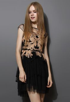 Golden Floral Embossment Black Tulle Dress - New Arrivals - Retro, Indie and Unique Fashion