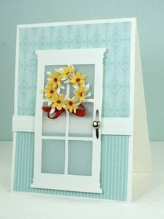 Poppy Stamp's Madison Window die used to make a door.  Great idea!