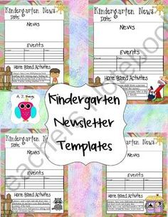 Kindergarten Newsletter Template Giveaway! Enter for your chance to win.  Kindergarten Newsletter Templates (35 pages) from AJ Bergs on TeachersNotebook.com (Ends on on 10-8-2014)  This is a set of Kindergarten Newsletter Templates.