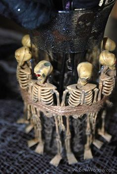 Spooky Skeleton Vase Tutorial by Katie of Sew Woodsy on Dollar Store Crafts #Halloween
