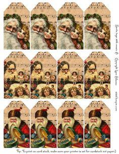 free printable vintage Santa tags music