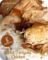Six Sisters Slow Cooker Sweet Teriyaki Chicken Recipe.  Only 5 ingredients for this delicious chicken dish!