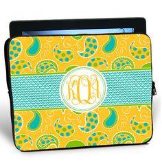 Spring Paisley iPad Sleeve. Love the pattern plus monogram