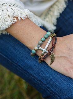 Wing and a Prayer Stack Bracelets.