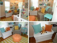 Love the bright colors in this gender neutral nursery