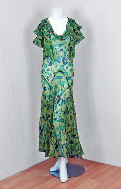 1930's Watercolor Green Floral-Garden Bias-Cut Gown & Bolero