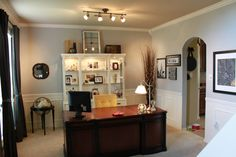 Love the executive desk, hutch used in the office, lighting, color.  Great office inspiration.
