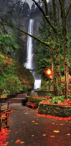 Autumn at Multnomah Falls in the Columbia River Gorge near Portland, Oregon • photo: Warren Searle on PhotoExtract