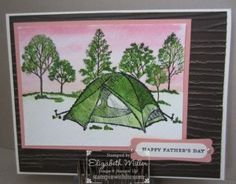 Stampin Up Camping card - The Great Outdoors & Lovely as a Tree stamp sets from Liz Miller