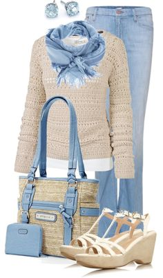 jean, shades, sweater, woman fashion, colors, scarves, casual outfits, shoe, blues
