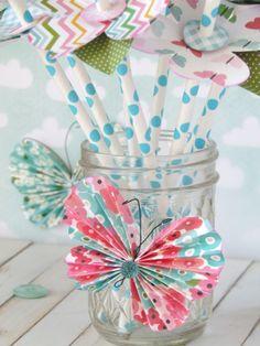 DIY Spring Tablescape, Paper Straw Blossoms.  {ribbonsandglue.com}