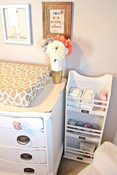 No room on the changing table for supplies? We love this diaper and supplies storage solutions! #nursery #storage