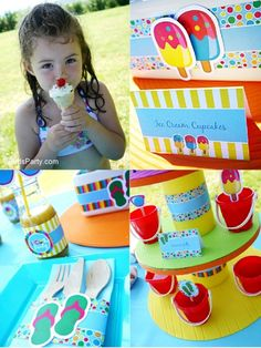 Pool Party Cupcake Stand made from pool noodles