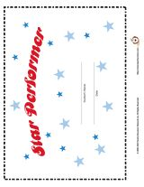 Reward students for outstanding work with this Star Performer certificate. You can type the student's name on the certificate before printing it.