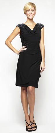 Mother of the Bride Dresses - 135796 Little Black Dress Short Jersey Cap Sleeves