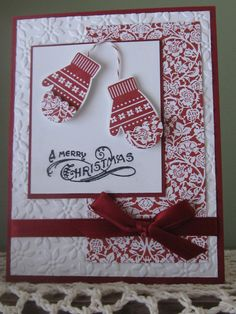 Stampin Up Handmade/Stamped Greeting Card: Christmas/Holiday Make A Mitten via Etsy