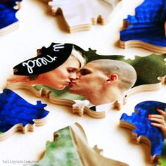 Photo puzzle guest book. Made of wood. Long lasting heirloom and fun for the guests at the wedding. Bella Puzzles.